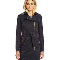 Vince Camuto Belted Asymmetrical Raincoat - Navy