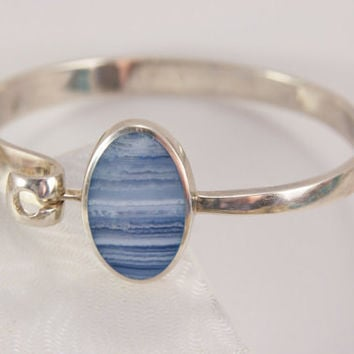Sterling Silver Blue Lace Agate Marked 925 England Hinged Bangle Bracelet Vintage Jewelry
