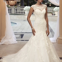 Casablanca Bridal 2110 Cap Sleeve Beaded Lace Fit & Flare Wedding Dress