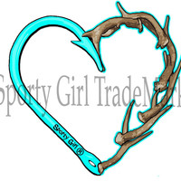 Sporty Girl Apparel mint heart hook and antler decal hunting and fishing decals hook n antler clothing
