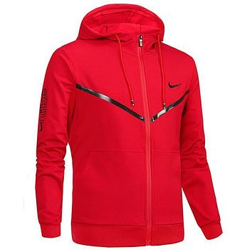 Nike Women Men Fashion Casual Hooded Cardigan Jacket Coat