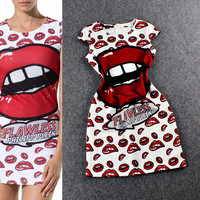 White  Digital Print Lips A-  Line Mini Dress