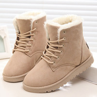 New Warm Winter Boots For Women Ankle Boots Waterproof Snow Girls Boots Female Shoes Suede with Plush Insole Botas