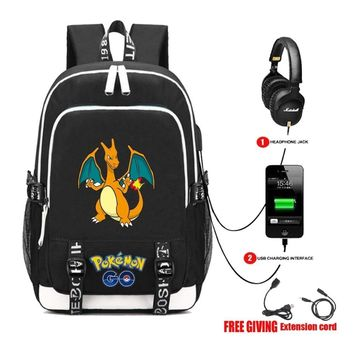 USB Charging Headphone jack Student bookbag Men Women Laptop backpack anime Pocket Monster  Backpack 18 styleKawaii Pokemon go  AT_89_9