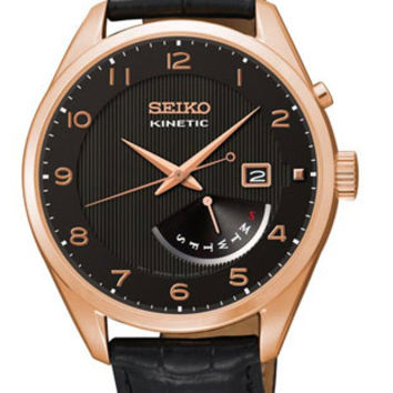Seiko Kinetic Mens Leather Strap Watch - Rose-Tone - Day / Date - Black Leather