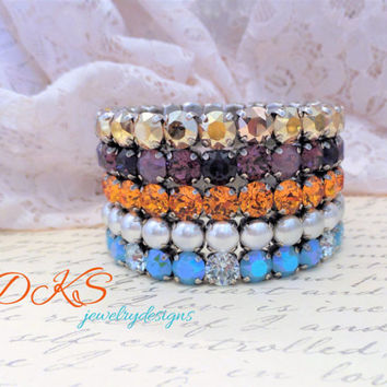 Stacked Illusion, Swarovski 8mm Five Row Stretch Bracelet, Multi Color, Pearls, Antique Silver, DKSJewelrydesigns, FREE SHIPPING