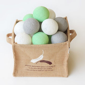 20 Cotton Ball String Lights for Bedroom, Wedding Light, Patio Party, Fairy, Outdoor -  Pastel Green Grey White