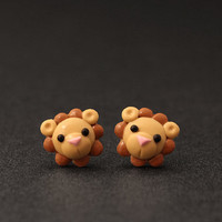 Lion Earrings Polymer Clay Adorable Jewelry Cute by PixieHearts