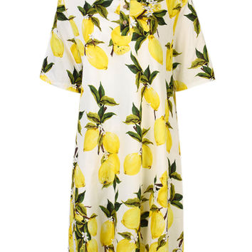 Elegant Women Lemon Fruits Printed Button Party Straight Dress