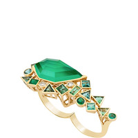 Gold Struck Crystal Haze Green Agate Quartz Two Finger Ring