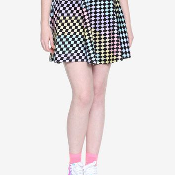 Pastel Checkered Skater Skirt