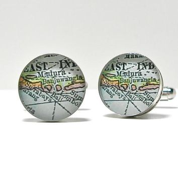 Bali Indonesia Antique Map Cufflinks