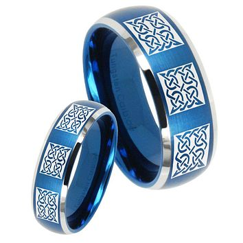 His Her Satin Blue Dome Multipe Square Celtic Two Tone Tungsten Wedding Rings Set