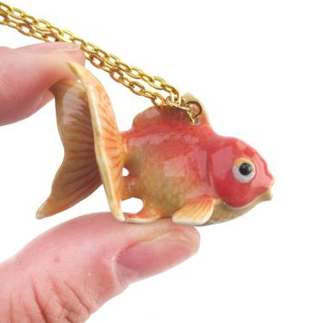 3D Porcelain Goldfish Shaped Ceramic Pendant Necklace
