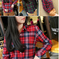 Women Button Cotton Casual Lapel Shirt Plaids Checks Flannel Shirt Top Blouse