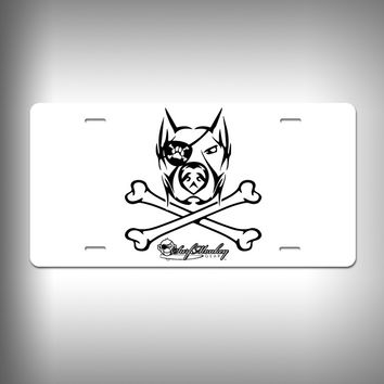 Doberman Pirate Custom License Plate / Vanity Plate with Custom Text and Graphics Aluminum