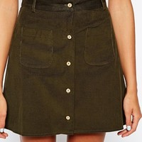 ASOS Reclaimed Vintage Mini Skirt With Button Through In Baby Cord
