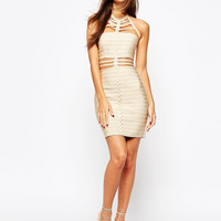 Cut Out Bandage Dress With Plait Front Detail