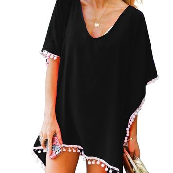Adreamly Women's Pom Pom Trim Kaftan Chiffon Swimwear Beach Cover Up