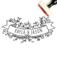 Wedding Logo Stamp - Floral Wedding Logo Design - Custom Wedding Name Stamp - Couples Name Banner - Wedding Banner - Spring Wedding Favors