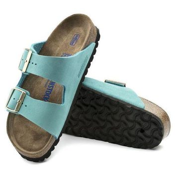 CREYNW6 Sale Birkenstock Arizona Soft Footbed Nubuck Leather Turquoise 1011259 Sandals