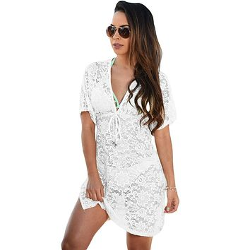 2017 summer beach swimwear lace cover up pareo bikini tunic loose dress Knitted White Swimsuit Cover Up Hollow Out Bikini Pareo
