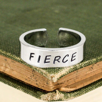 Fierce Ring - Inspirational Rings - Adjustable Aluminum Cuff Ring Style B
