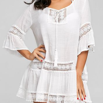 Crochet Panel Flare Sleeve Cover Up Dress