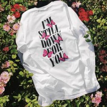 Im Still Down Pink Butterfly Long Sleeve - White