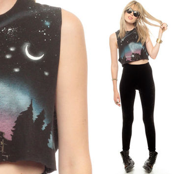 TRAIN Shirt Space Tank Top Crop Galaxy Northern Lights Star Planet Cut Off 80s Black Vintage Galactic Cutoff Hipster Tee Extra Small Medium