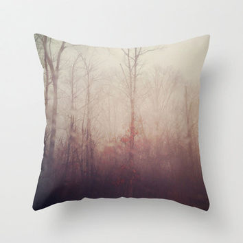 Pillow Cover, Tree Photo Pillow, Winter Haze, Forest Fog, Violet Gray Pillow Cover, Home Decor,  Living Room, Bedroom, 16x16, 18x18, 20x20