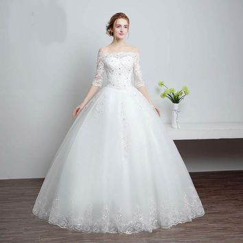 White Boat Neck Embroidery Sequined Flowers Wedding Dress Bridal Grown Dresses Lace Half