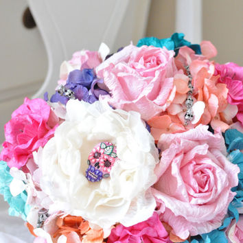 Cinco De Mayo wedding bouquet READY TO SHIP pink, purple, aqua orange and cream and hand made Sugar skull
