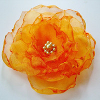 Orange Organza Flower accessory Hair Clip Brooch by OurPlaceToNest