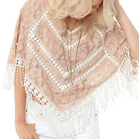 Natural Floral Crochet Rayla Poncho