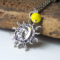 Etsy, Etsy Jewelry, Sun Pendant, Sun and Moon Charm Necklace, Yellow Czech Glass Bead, Charm Necklace, Jewelry on Etsy
