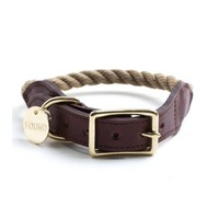Natural Rope and Leather Dog Collar l Found My Animal - Olive