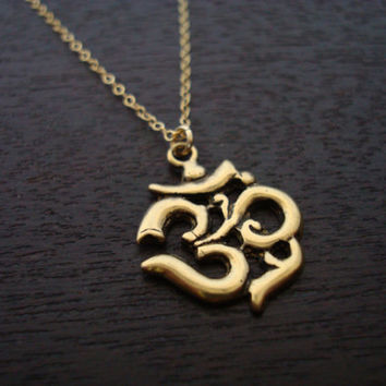 Women's Bronze Om Necklace - Yoga Jewelry, Buddhist Jewelry, Women's Jewelry, Om Necklace, Ohm, Aum
