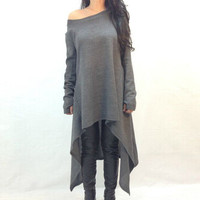 Deep Grey Long Sleeve Asymmetrical Knit Dress