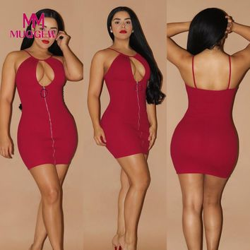 2018 New arrival Sexy dress Women  ONeck Halter Sleeveless Slim Skinny Zip Party Cocktail Pencil Mini Dress Summer dress vestido