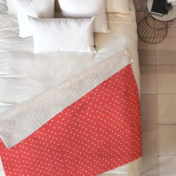 Allyson Johnson Red Dots Fleece Throw Blanket