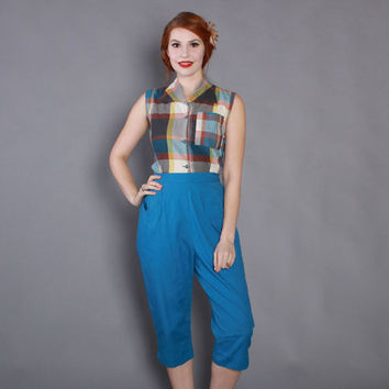 60s High Waisted BLUE CAPRI PANTS / Early 1960s Rockabilly Cotton Pedal Pushers xs - s