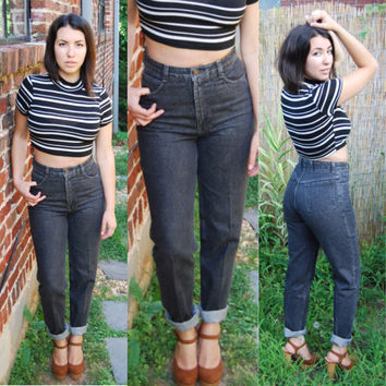 80s 90s High-Waisted // Acid Wash // Black Grey // Denim Jeans // SZ 2-4 // Made in the USA