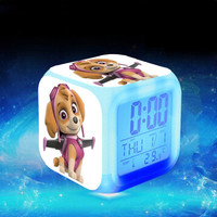 patrulla canina Kid toys Alarm with Glowing Colorful Change Light Temperature Pawed Anime Action Figure Patrolling Puppy Clock