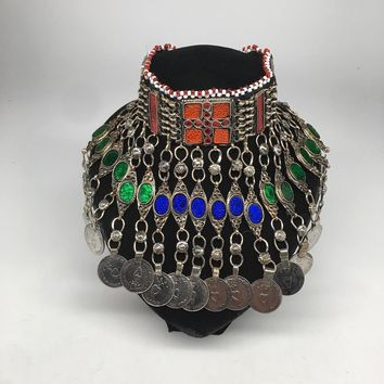 Antique Afghan Kuchi Choker Tribal Multi-Color Glass Jingle Coins Necklace,Ck160