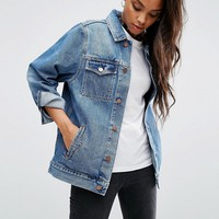 ASOS Denim Girlfriend Jacket in Astrid Mid Stonewash Blue at asos.com