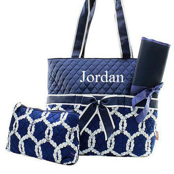 Monogrammed Navy and White Nautical Diaper Bag  Monogrammed Diaper Bag  Personalized Diaper Bag