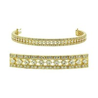 Diamond Bracelet - Vintage Style Tennis Bracelet in 18k Yellow Gold - Like Love Buy