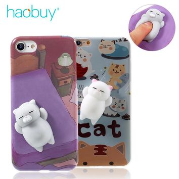Phone Case for iPhone 5S SE 5 6 6S plus 3D Cute Soft Silicone Mini Squishy Cat Cover for iPhone 8 7 plus Cover Kitty Coque