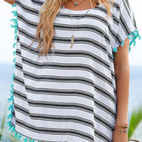 Cupshe Well Thread Fringe Stripe Cover-up